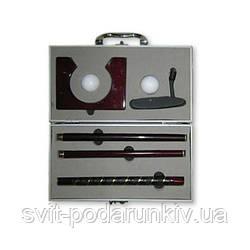 Офисный набор для игры в кабинетный мини гольф в металлическом футляре с деревянной клюшкой CX-1006
