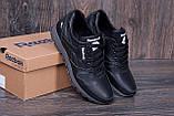 Мужские кожаные кроссовки Reebok Classic Black (реплика), фото 2