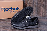 Мужские кожаные кроссовки Reebok Classic Black (реплика), фото 3