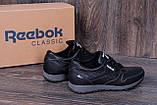 Мужские кожаные кроссовки Reebok Classic Black (реплика), фото 4