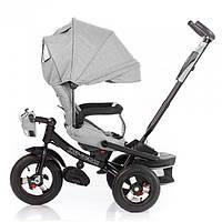 Велосипед коляска трехколесный с родительской ручкой, пультом и игровой панелью TILLY Cayman T-381/2 Серый