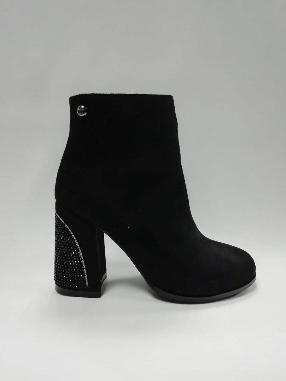 Черные ботинки из эко-замши. Ботильоны. Маленькие размеры (33 - 35).