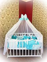 Детское постельное белье в кроватку ТМ Bonna Elite Бирюзовый горох, фото 1
