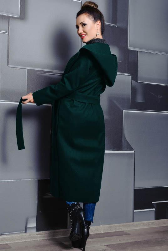 Батальне пальто з капюшоном Маріз, смарагдовий