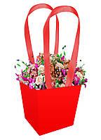 Бумажная сумка для цветов (13 см) красная