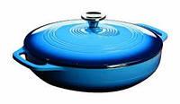 Посуда для тушения  с крышкой эмалированный чугун синего цвета объем 3,5л  Lodge  диаметр 300 х 50 м EC3CC33 Lodge 1800050