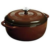 Посуда для тушения с крышкой эмалированный чугун коричневого цвета объем 5,5л  Lodge  диаметр 280 х1 EC6D83 Lodge 1800049
