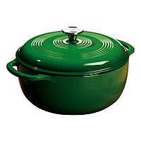 Посуда для тушения с крышкой эмалированный чугун зеленого цвета объем 5,5л  Lodge  диаметр 280 х120  EC6D53 Lodge 1800048