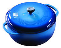 Посуда для тушения с крышкой  эмалированный чугун синего цвета объем 5,5л  Lodge  диаметр 280 х120 м EC6D33 Lodge 1800046
