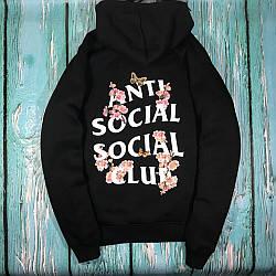 Толстовка чёрная Sakura Anti Social Social Club | Худи ASSC | Кенгуру АССЦ