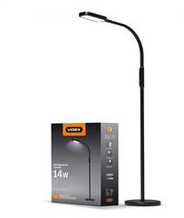 LED торшер напольный черный VIDEX VL-TF07W 14W 3000-5500K 220V