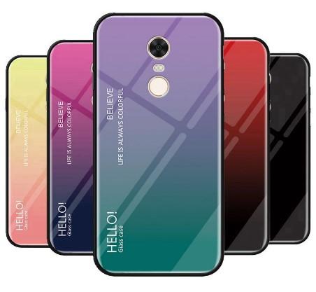 TPU+Glass чехол градиент для Xiaomi Redmi Note 4 / Note 4X (Global version) HELLO (Разные цвета)