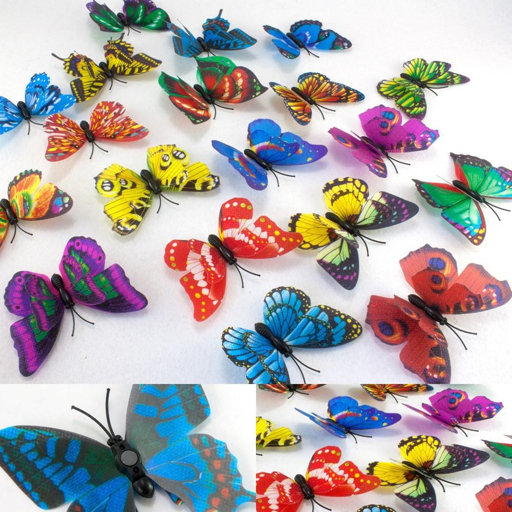 (10шт) 3D Бабочки с магнитом СРЕДНИЕ двойные ≈7х5см Цвета-МИКС с блеском!