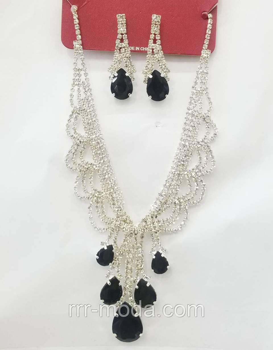 Нарядные серьги и ожерелье в комплекте оптом. Украшения на вечер оптом. 201