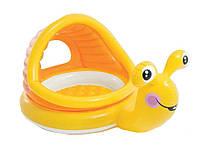 Детский надувной бассейн Intex 57124 «Улитка» с навесом (145*102*74 см)