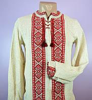 Мужская вязаная кофта вышиванка лён