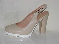 Женские бежевые туфли с открытой пяткой на устойчивом каблуке 36- 41 9e245eeb8034d