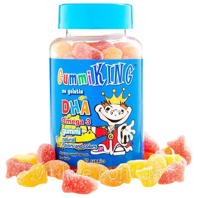 GummiKing, ДГК Омега-3, жувальні цукерки для дітей, 60 цукерок