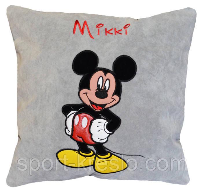 Дитяча сувенірна подушка з вишивкою Міккі