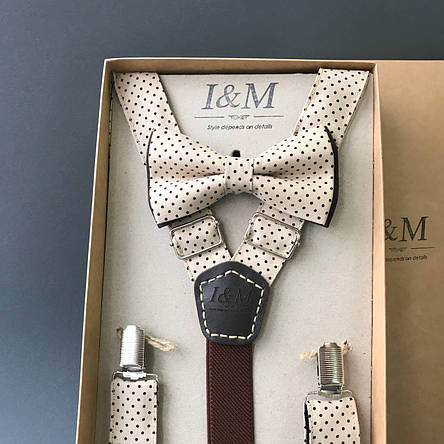 Набір I&M Craft краватка-метелик + підтяжки для штанів бежевий в горох (030208), фото 2