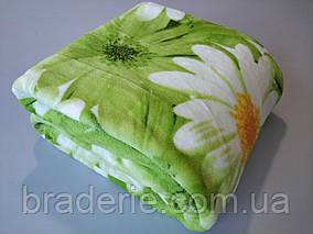 Микрофибровая простынь,покрывало TRUE LOVE Ромашка зеленая евро размер (200*220)