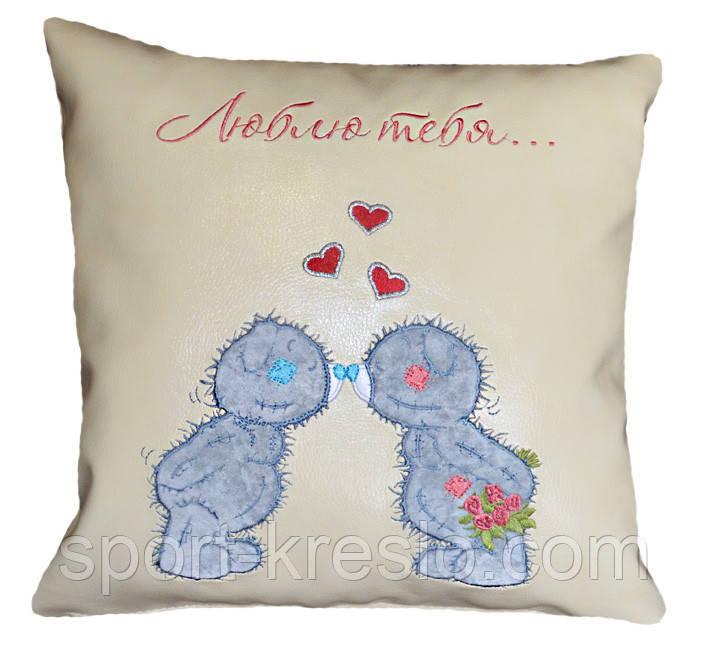 Сувенірна подушка з вишивкою Ведмедиків Тедді