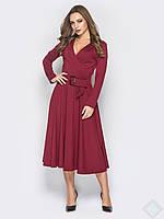 Оригинальное платье с поясом Лола, бордовый, фото 1