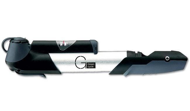 Мининасос Green Cycle GCP-961A алюминиевый с манометром, presta+schreder, серый
