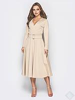 Элегантное длинное платье миди Лола, беж, фото 1