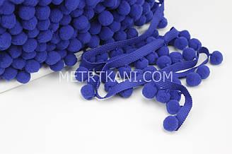 Тесьма с помпонами синего цвета  d 20 мм