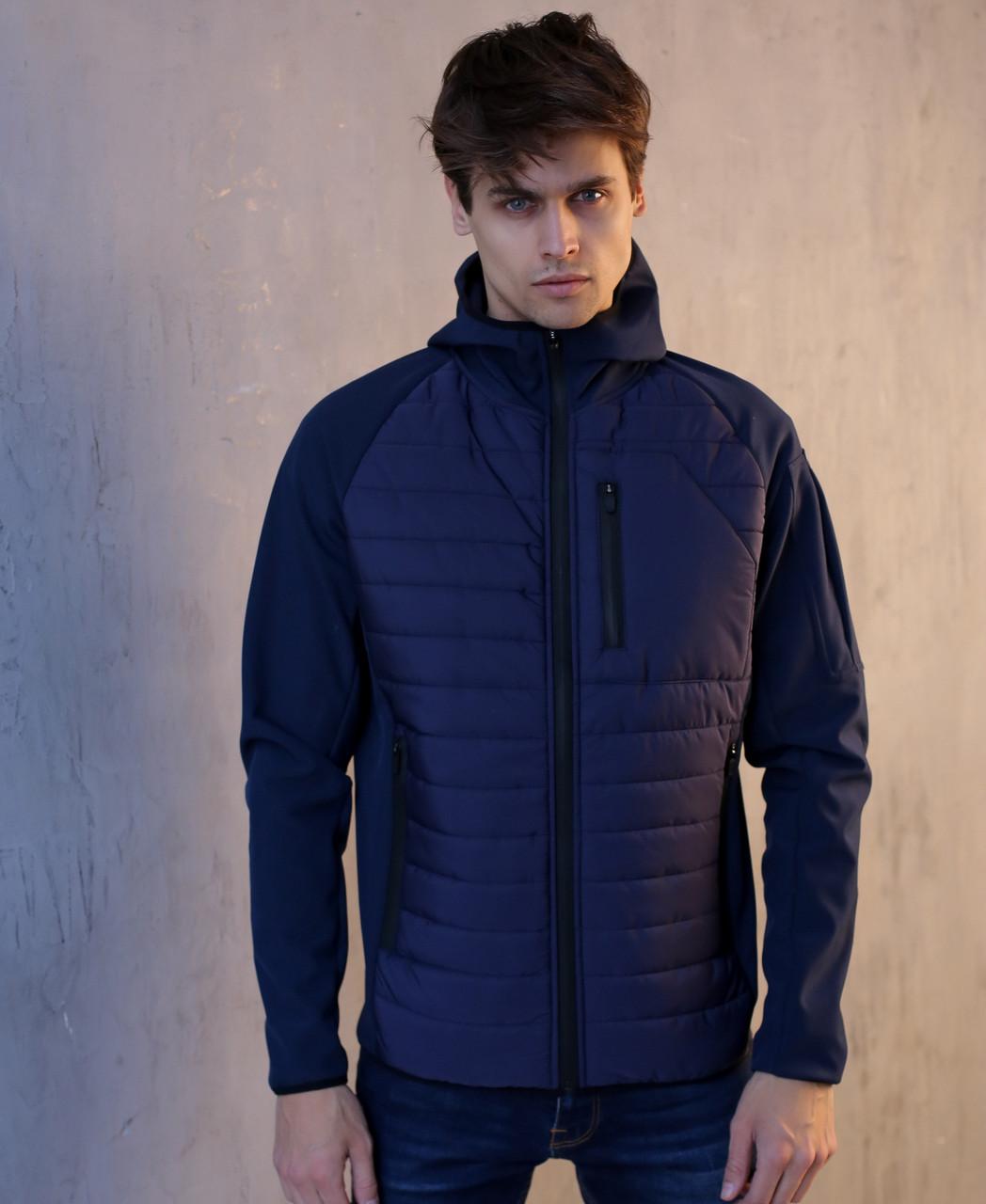 "Мужская демисезонная куртка Pobedov Soft Shell Combi ""Derzhu rayon"" Navy (S, М, L, XL размеры)"