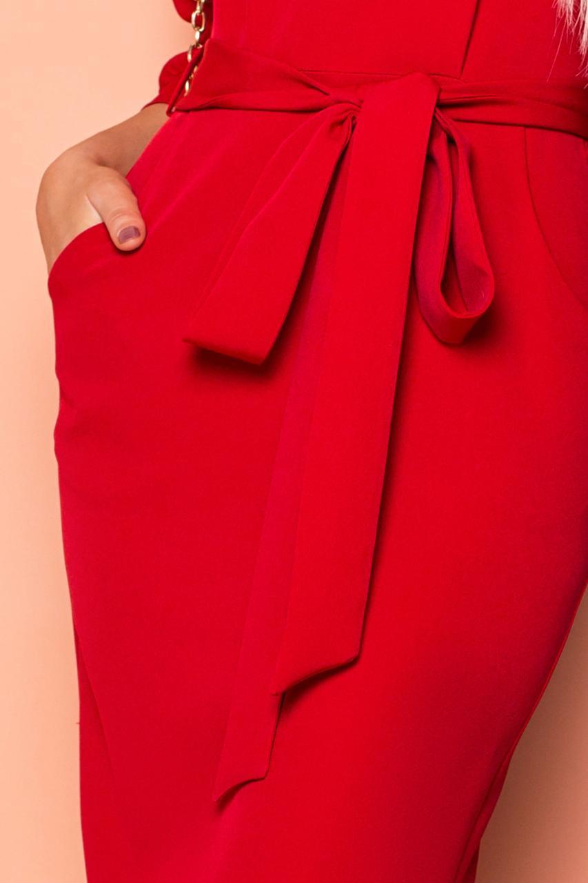 0d08629d38e Описание Красное платье миди элегантное с поясом и цельнокроеным рукавом