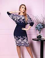 Красивое платье из ангоры с цветочным принтом
