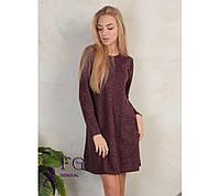 Платье-трапеция большого размера. Батал. Бордовый