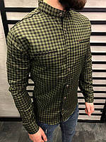 Мужская рубашка хаки в клетку 0146
