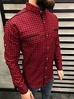 Мужская рубашка красная в клетку 0146