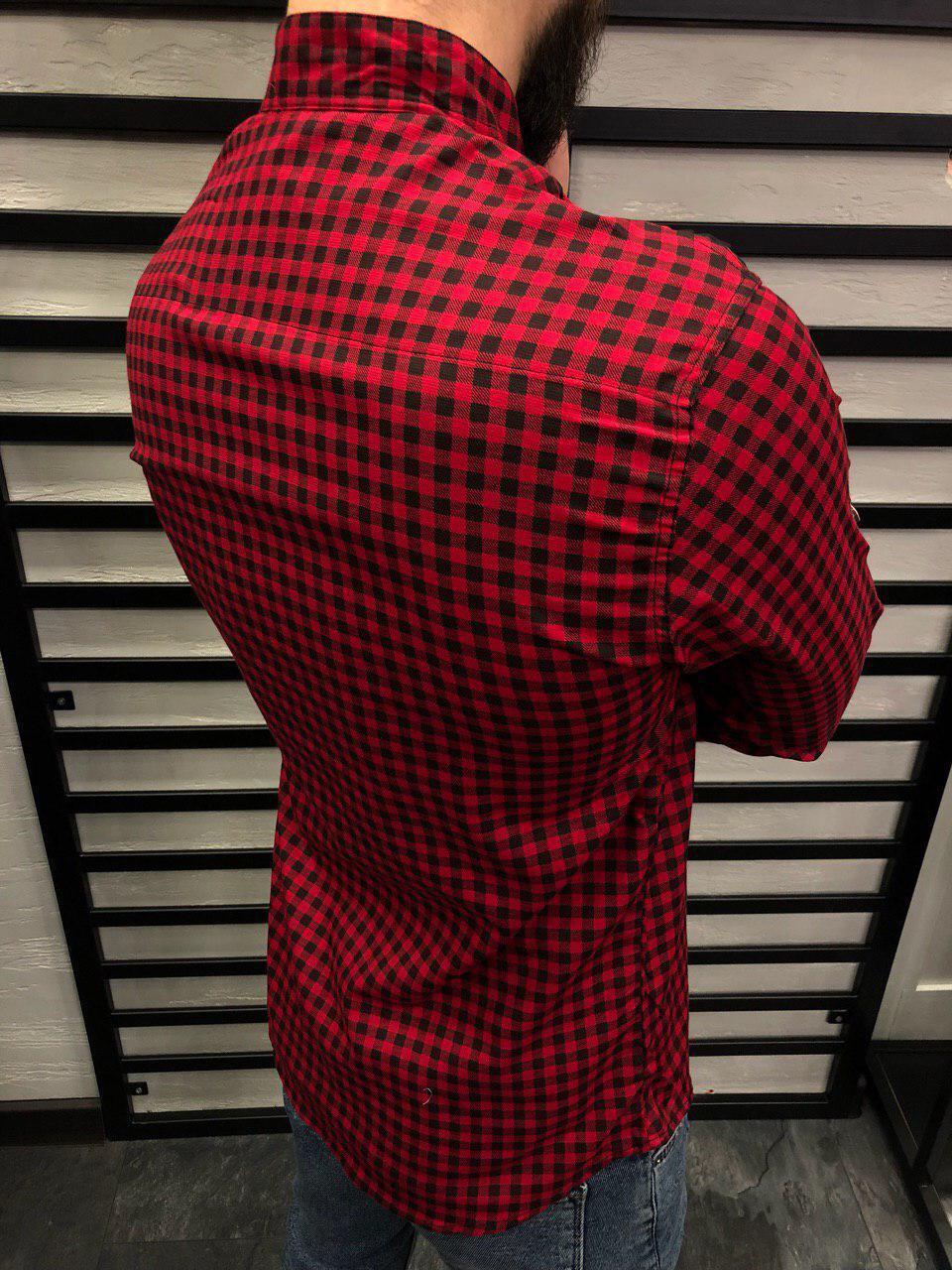 4fb14a1bb94 Мужская рубашка красная в клетку 0146  продажа