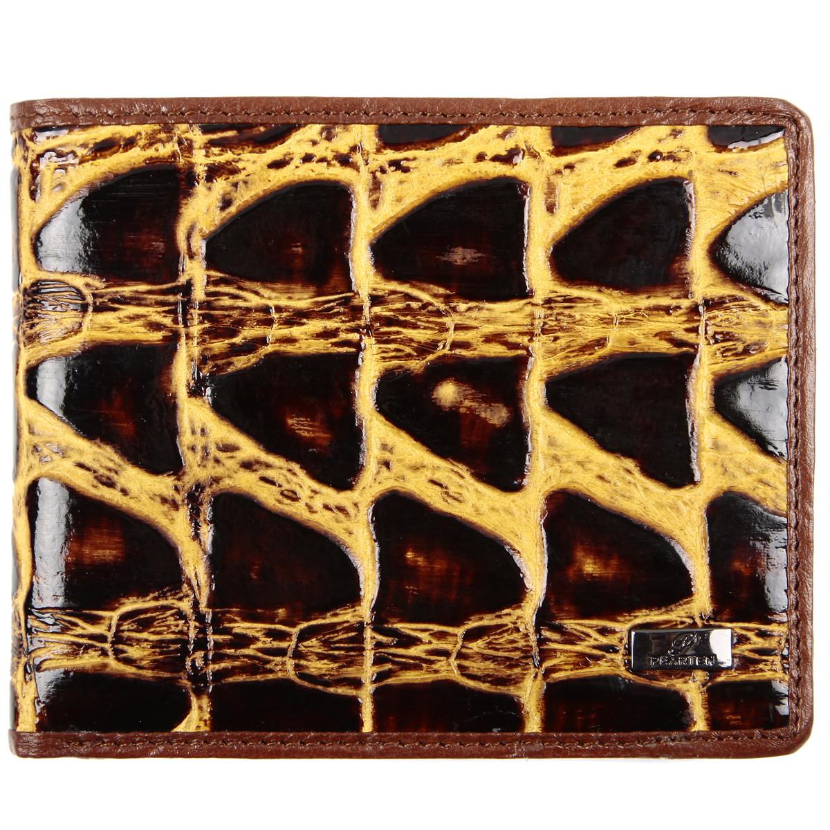 Портмоне мужское из натуральной кожи PEARTEN 120х95х20 застёжка кнопка м 1209кор