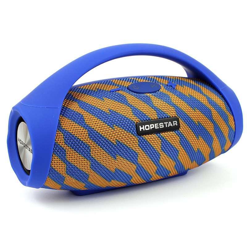 Портативная акустическая Bluetooth колонка Hopestar H32 синяя с желтым 140085
