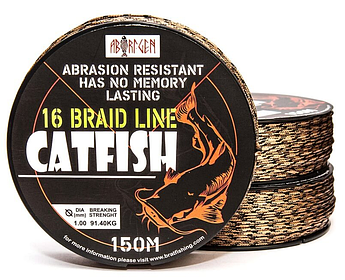 Плетеный шнур на сома  ABORIGEN CATFISH 16 BRAID LINE 150 M