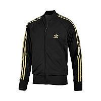 Олимпийка спортивная мужская adidas Retro SUPERSTAR 626891 (черная, нейлон, молния, манжеты, логотип адидас)