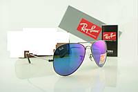 Зеркальные Солнцезащитные очки Ray Ban капельки 3025 фиолетового цвета , фото 1