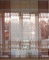 Японские занавески  бордо  с бежем Купон, фото 1