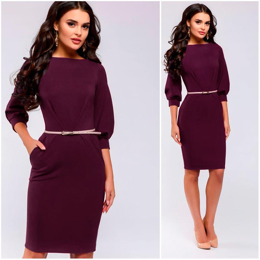 Платье-футляр цвета марсала Ariel (Код 409)