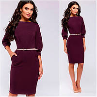 Платье-футляр цвета марсала Ariel (Код MF-409)