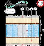 Двоспальний матрац Морфей: (Велам) 160х190х34см незалежні пружини 5 зон латекс+кокос з/л до 150кг, фото 2