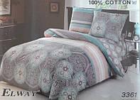 Сатиновое постельное белье полуторка ELWAY 3361 Индия