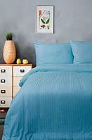 Постельное белье Lotus Сатин Страйп голубой 1*1 семейный размер (Турция)