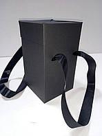 Коробка подарочная с ручками черная (114*114*195 мм), фото 1