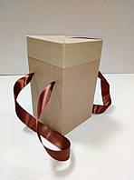 Коробка подарочная с ручками крафт (114*114*195 мм)